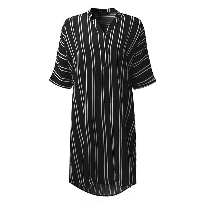 0f0559520 ... ZANZEA Mini Dress Fashion Women V Neck Short Sleeve Buttons Shirt  Dresses Striped Printed Casual Loose ...