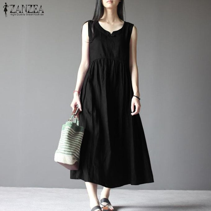 1fc00458cfbff ZANZEA Women Sleeveless Long Maxi Sundress Kaftan A-Line Plus Size Dress
