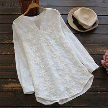 b24b9c9b57df9 ZANZEA Women Plus Size Long Sleeve Pullover Top T Shirt Floral Tunic Blouse