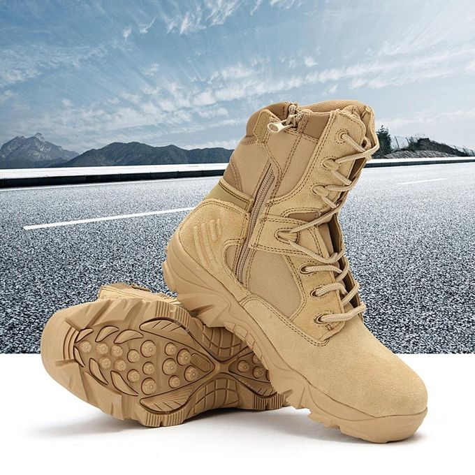 New Army Tactical Desert Mens Leather Combat Boots Military Shoes Soldier  Sand e23a0cb986e3