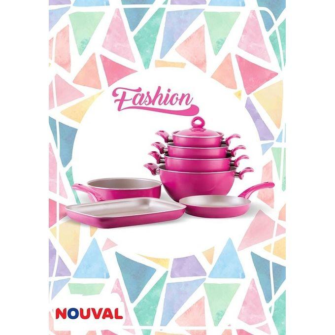 Fashion Plus Ceramic Cookware Set – 11 Pcs – Fuchsia –  مصر