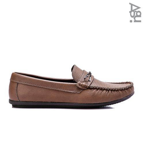 حذاء جلد كاجوال سهل الارتداء - بني فاتح