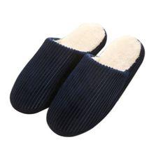 df5c6e9c3 TB Super Soft Anti-skid Warm Cotton Striped Slippers Plush Indoor Couple  Slipper Dark Blue