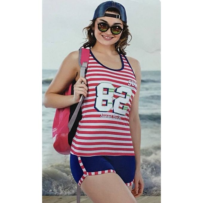 8579555721f6 Sale on Striped Hot Shorts Pajama - Red