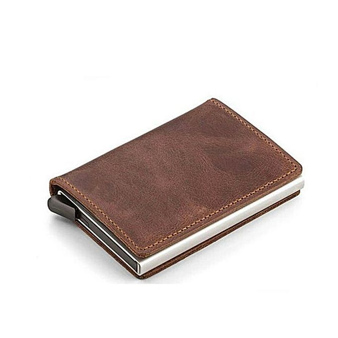 c7415ccdb1be Automatic Slide Aluminum ID Cash Card Holder Genuine Leather Men Business  RFID Blocking Wallet Credit Card Protector Case