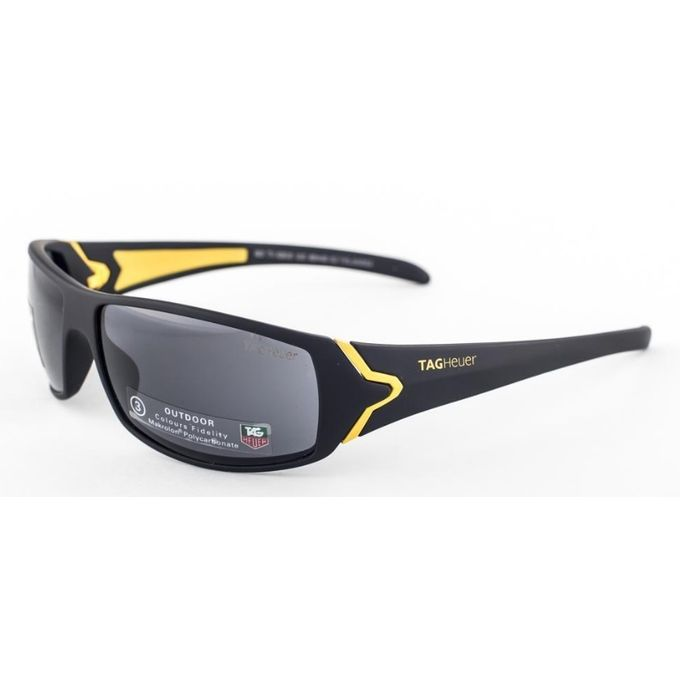 Heuer Shapeamp; Plastic Black Square Sunglasses Yellow Front With Tag Grey And Temple Lenses BdoCxer