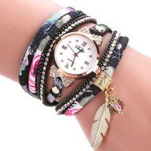 1befad211 Lady Leather Wrist Watch Duoya Women Fine Leather Band Winding Analog  Quartz Movement Wrist Watch-