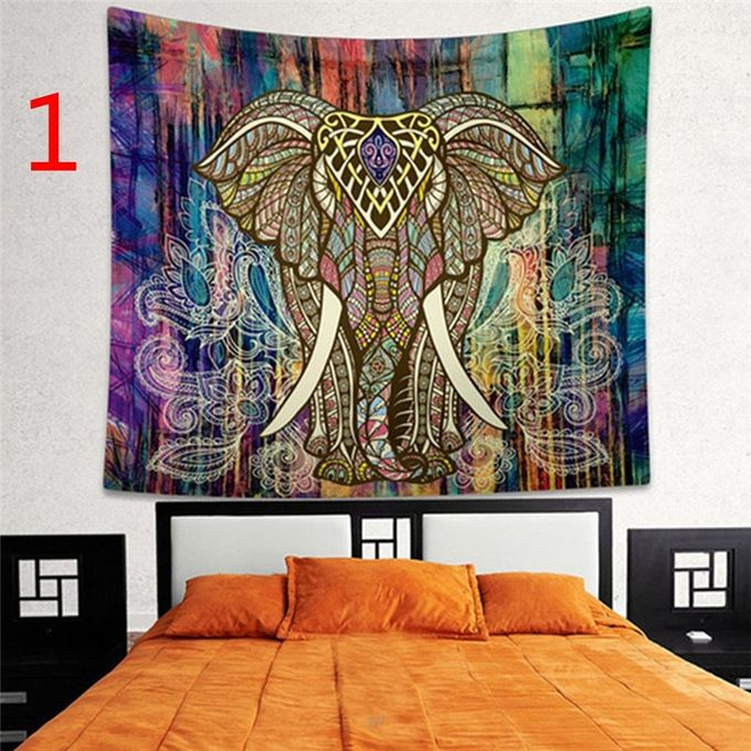 Indian Decor Mandala Tapestry Wall Hanging Hippie Throw Bohemian Dorm Bedspread Table Cloth Curtain Style Colorful Elephant –  مصر