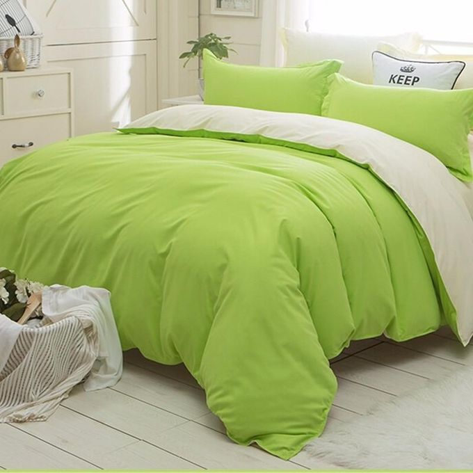 Polyester Cover Set 4pcs Quilt Pillowcase Bedspread Coverlet King Queen Size US Green –  مصر