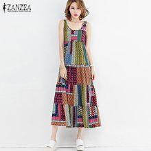 6a0c2853d ZANZEA Fashion A-Line Tank Dress Summer Beach Party Midi-Calf Shirt Dress  Women