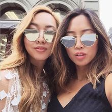 f07790dc1bf0 Tectores Fashion Twin-Beams Classic Women Metal Frame Mirror Sunglasses Cat  Eye Glasses Gift
