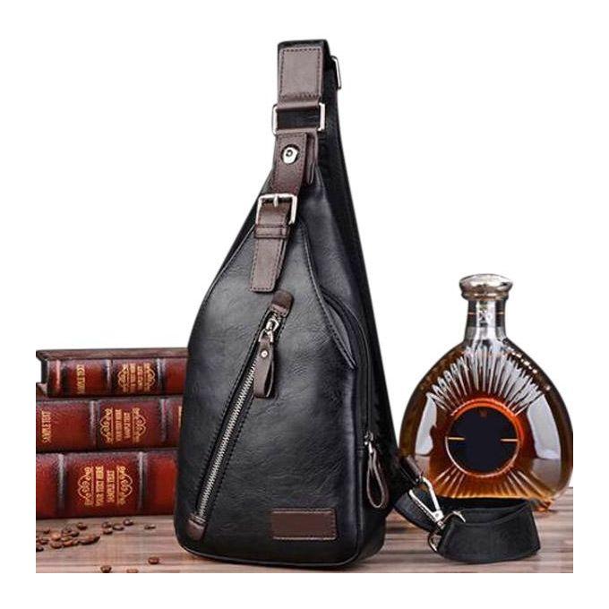 7dd9eb081 Men PU Leather Retro Portable Leisure Shoulder Bag Chest Bag Crossbody Bag