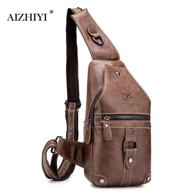 5b333ac25 Generic BULLCAPTAIN 2019 Leather Men Messenger Bag Casual Crossbody Bag  Fashion Men's Handbag Men Chest Bag Male Shoulder Bag(Brown)