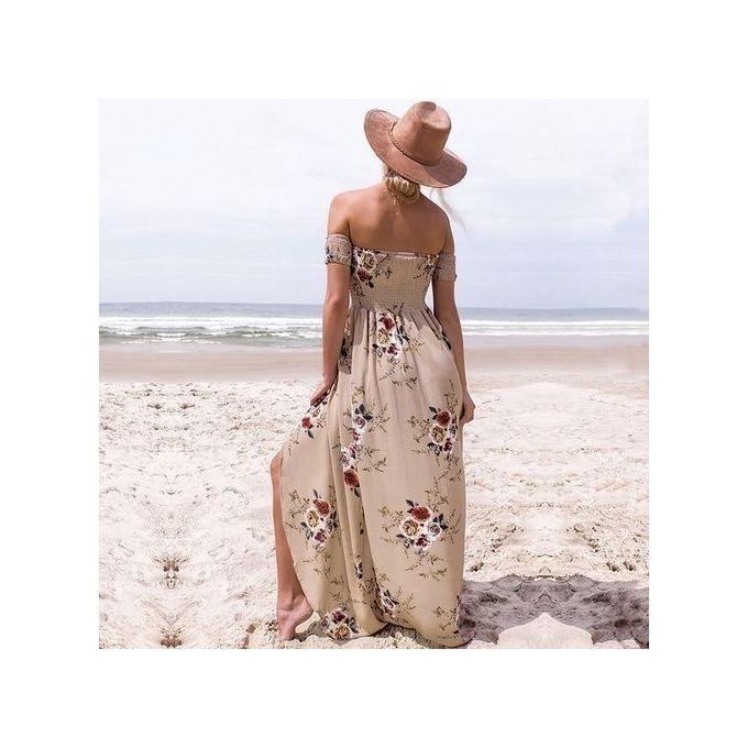 187c2d1dd4d2 ... Boho Style Long Dress Women Off Shoulder Beach Summer Dresses Floral  Print Vintage Chiffon Khaki Maxi ...