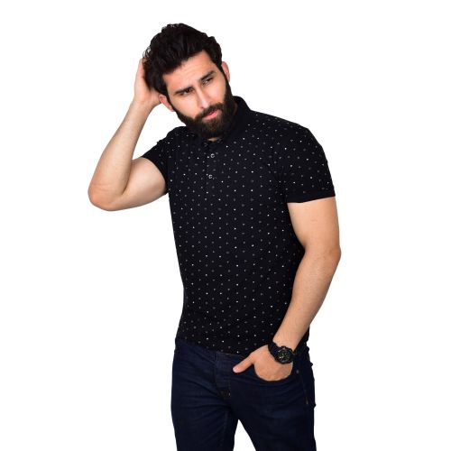 Casual Patterned Polo Shirt - Black