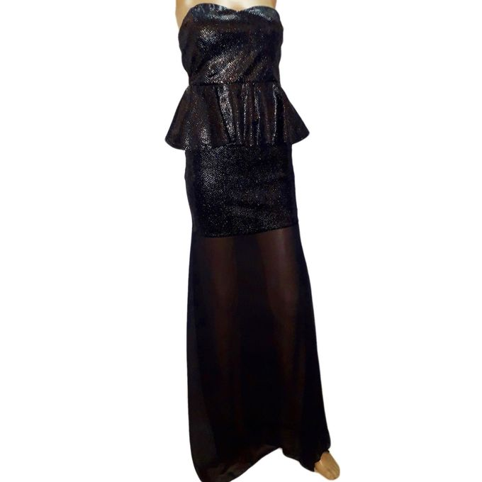 12e6f78f72142 THE SHOP Special Occasion Strapless Mermaid Metallic Long Dress - Black