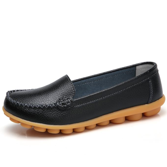 43387be24e3d6 Women's Leather Loafers Casual Round Toe Moccasins Wild Driving Flats Shoes