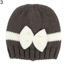c14c7402632 Newborn Baby Girl Infant Winter Hat Color Block Bowknot Warm Knitted Beanie  Cap-Dark Grey