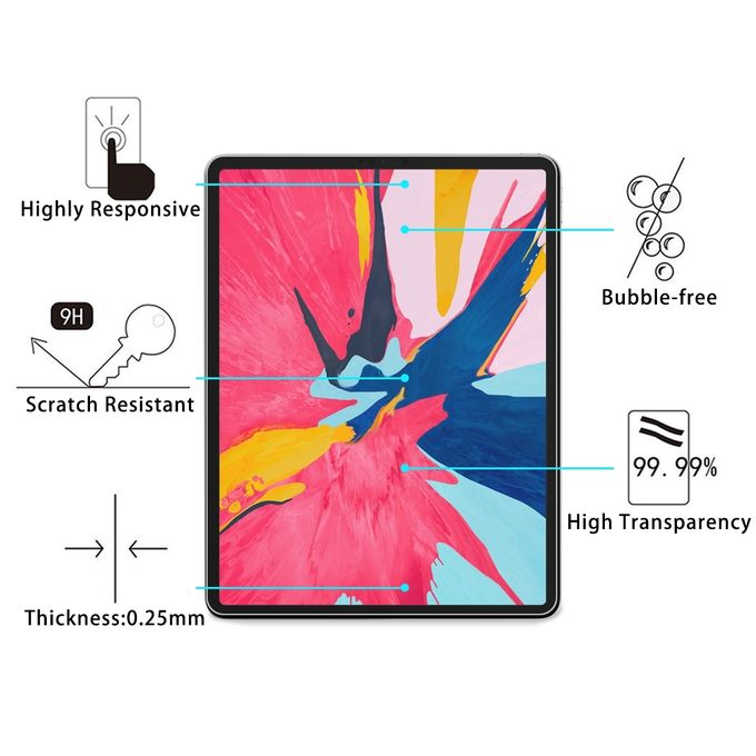 0 26mm 9H Surface Hardness Straight Edge Explosion-proof Tempered Glass  Film For IPad Pro 12 9 (2018)