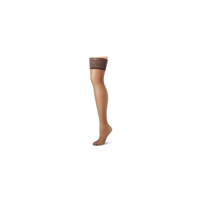 Hanes Silk Reflections Womens Lace Top Thigh High [Barely Black, A/B]