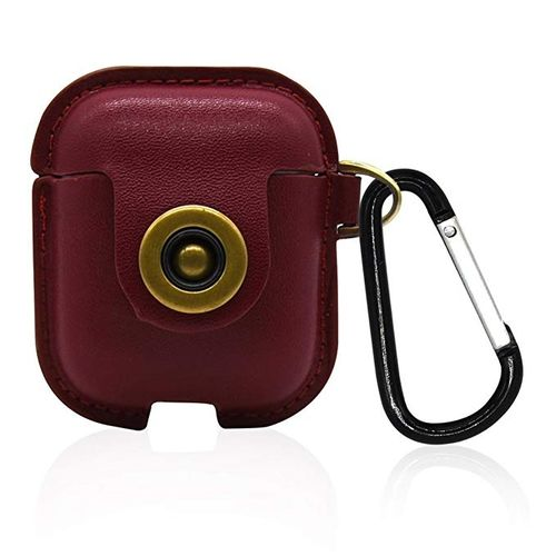 cheap for discount 9859a b64af Airpods Case PU Leather Cover Accessories With Hook Keychain Protective  Cover Portable Anti-lost Carrying Case For Apple AirPods Charging Case (Red)
