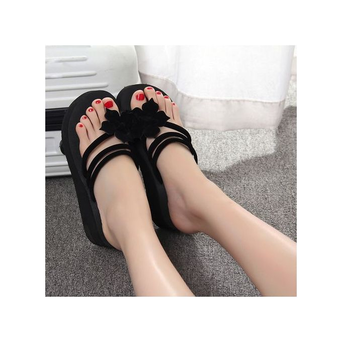 79ae75a47753 Jiahsyc Store Women s Leisure Flower Non-slip Platform Shoes Wedges High  Heels Slippers-Black