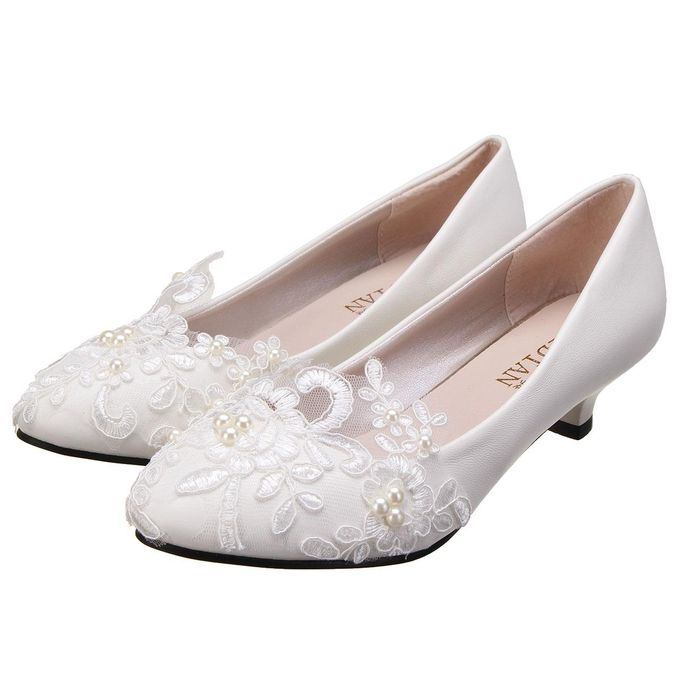 e9bb567ef884 Women Pearl Flower Lace Wedding Shoes Prom Bridal Bridesmaid Flat Low Heel  Shoes 3CM-EU