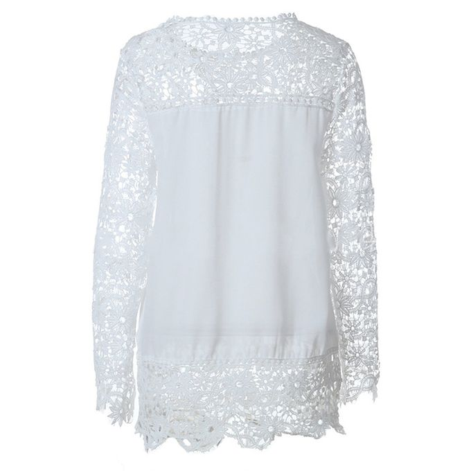 c4908693 ... Autumn Ladies Hollow Flower Chiffon Lace Blouse Long Sleeve Tops Women  Shirts