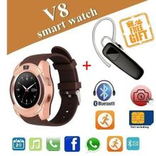 2e9c0729c V8 Bluetooth Smart Watch For IOS/Android - Gold + Bluetooth Headset