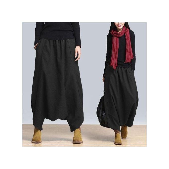 a94d4883b403 ZANZEA Women Plus Size Harem Baggy Wide Leg Casual Solid Pants Yoga  Trousers (Black)