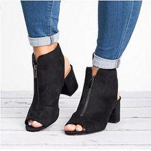 45e7c4b1d قطيع الأزياء سميكة عالية الكعب البريدي الصلبة الصنادل زقزقة اصبع القدم أحذية  عادية ، أسود