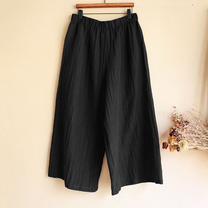971ef1fc16 100%Cotton Women Summer Loose Stretch High Waist Wide Leg Pants Palazzo  Trousers