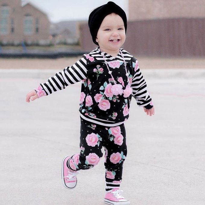 90974a7c6 *Delicate Classicborn Delicate Girls Long Sleeve Boys Floral Hoode  Tops+Striped Pants Clothes Sets