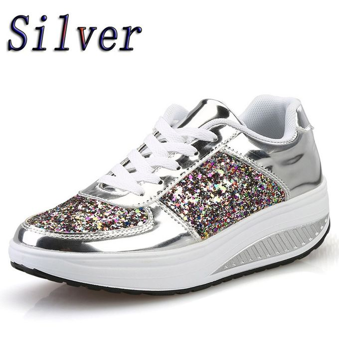 94be45080 Blicool Shoes Women's Ladies Wedges Sneakers Sequins Shake Shoes Fashion  Girls Sport Shoes#Silver