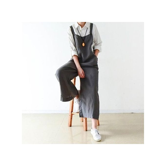 c5313d165a ... ZANZEA Womens Dungaree Overalls Playsuits Romper Wide Leg Loose Long  Pants Dark Grey ...