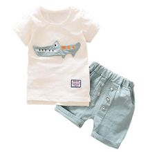 51dea88f9d234 Toddler Kid Baby Boy Outfits Clothes Cartoon Print T-shirt Tops+Shorts  Pants Set