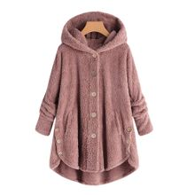 Hiamok Fashion Women Button Coat Fluffy Tail Tops Hooded Pullover Loose  Sweater 163d854bb