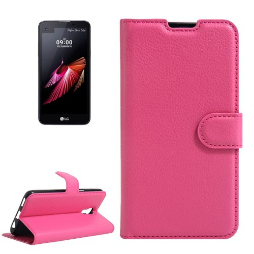new product d8efc 5f929 For LG X Screen Litchi Texture Horizontal Flip Leather Case With Holder &  Card Slots & Wallet(Magenta)