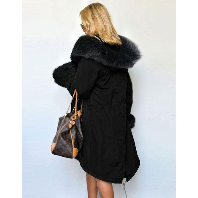 df784caae86 ... Stylish Ladies Women Lady Hooded Winter Warm Thick Faux Fur Coat Parka  Long Outerwear Overcoat Jacket ...