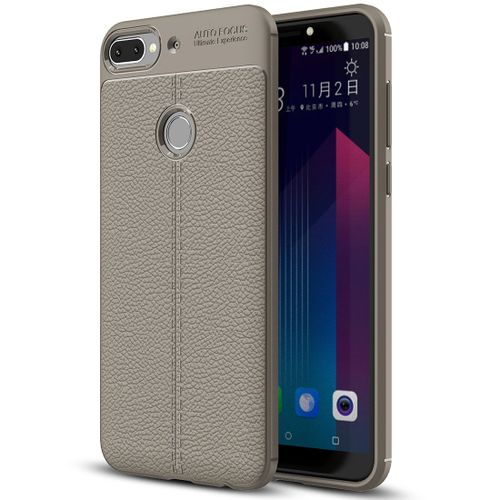 promo code f78a7 31f59 For HTC Desire 12+ Litchi Texture Soft TPU Protective Back Cover Case(Grey)