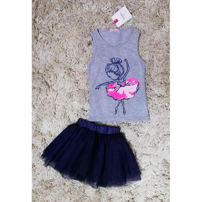 6bea1c96abb Sale on Girls Little Ballerina Top And Skirt Set - Heather Grey ...