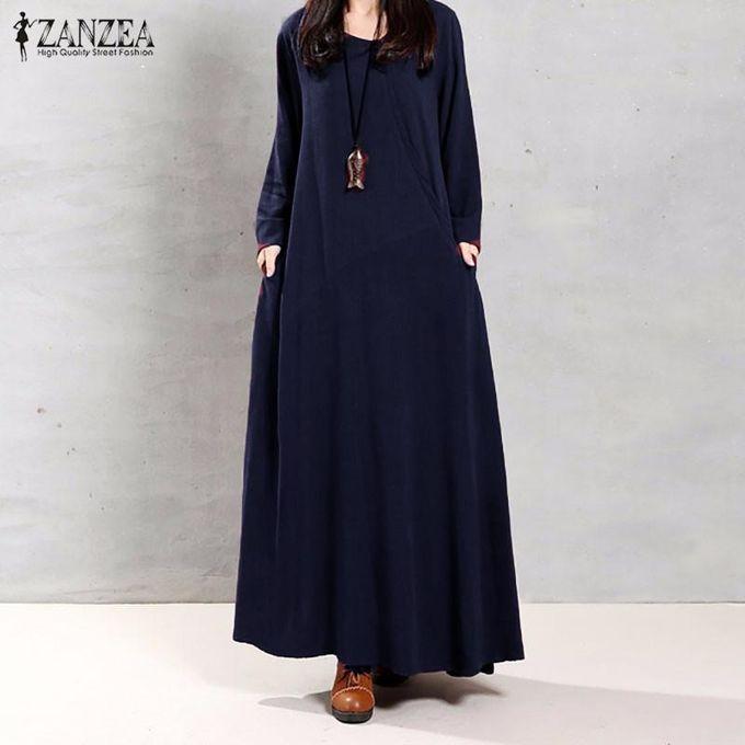 98e10355acc ZANZEA Women Muslim Autumn Elegant Retro Dress O Neck Long Sleeve Pockets  Linen Maxi Long Dresses