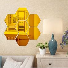 32292d137aae Xiuxingzi  7Pcs 3D Mirror Hexagon Vinyl Removable Wall Sticker Decal Home  Decor Art DIY