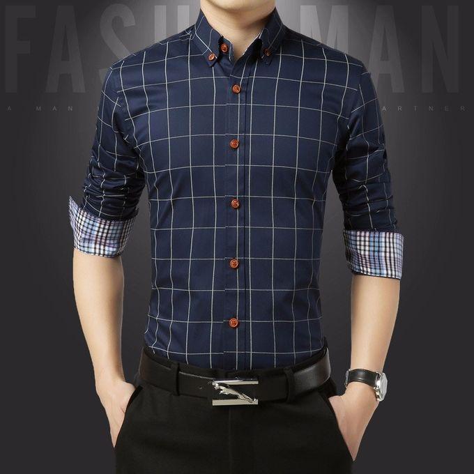 Sale on Cotton Slim Fit Check Shirts Men Plaid Business Formal ... b7e761749