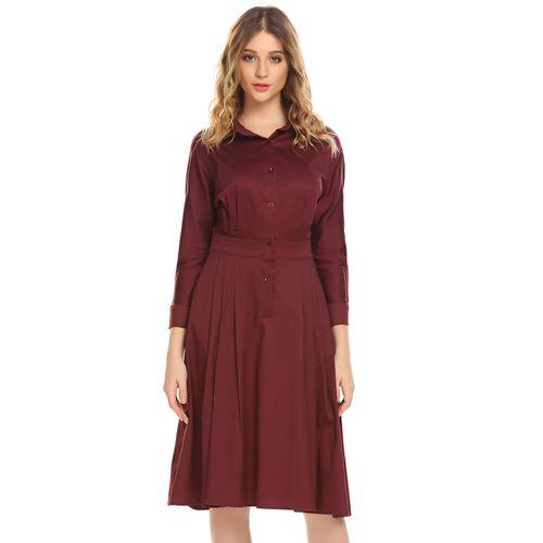8f47dfed28f00 المرأة القميص الياقة كم طويل ارتفاع الخصر أ-- خط القميص اللباس-النبيذ  الأحمر - Jumia مصر