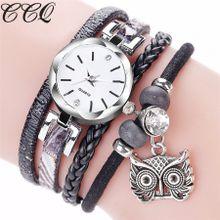 Hiamok_CCQ Fashion Women Girls Analog Quartz Owl Pendant Ladies Dress Bracelet Watches