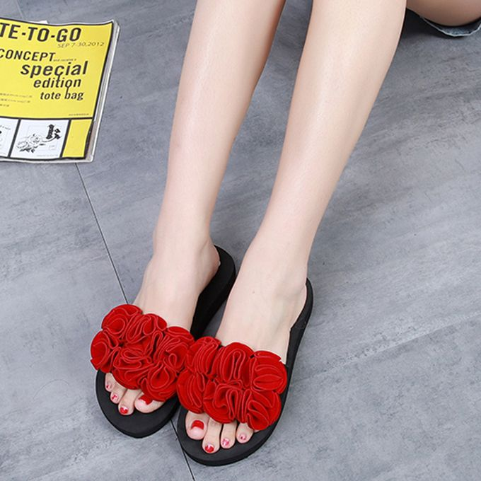 4b92ec4450d9 Hiamok Women Flower Summer Sandals Slipper Indoor Outdoor Flip-flops Beach  Shoes Red