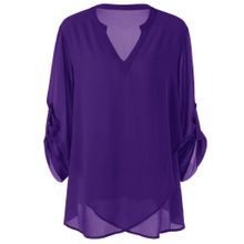 76ff5c0268f91 Xiuxingzi Fashion Womens Plus Size V-Neck Adjustable Sleeve Chiffon Solid Blouse  Top Shirt
