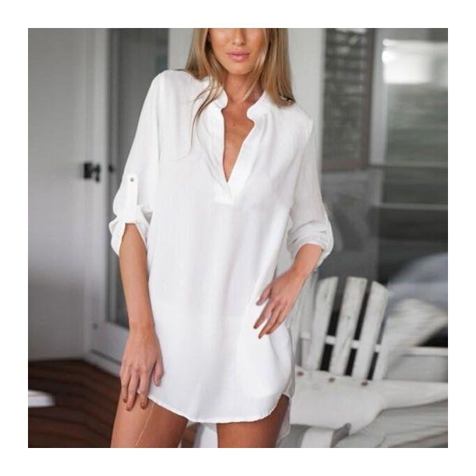 d234a2f6196a Zanzea 2017 New Arrival Women Chiffon Blouse Sexy Long Sleeve Irregular Hem  Solid Tops Blouses Plus