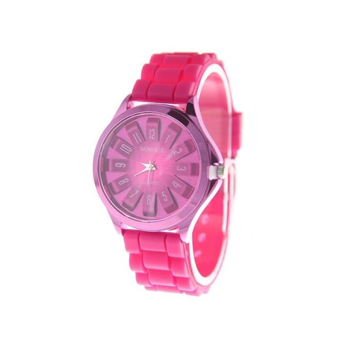 Fashion Pretty Jelly Wrist Watch Men Women Cool Silicone Quartz Sports Watch  Color:Rose Red –  مصر